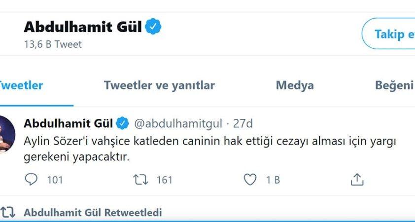 Bakan Gül'den Aylin Sözer paylaşımı: