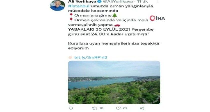 İstanbul'da ormanlık alanlara giriş yasağı uzatıldı