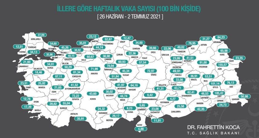 Bakan Koca, insidans haritasını paylaştı