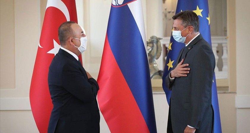 Dışişleri Bakanı Çavuşoğlu, Slovenya Cumhurbaşkanı Pahor tarafından kabul edildi