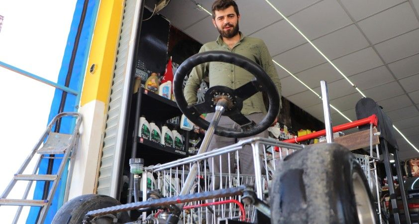 Alışveriş sepetinden araba yaptı: 120 km hız yapabiliyor