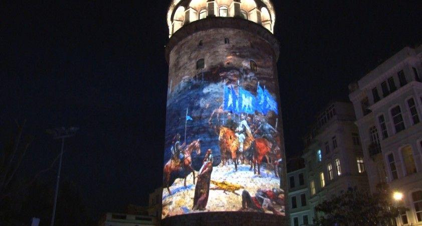 19 Mayıs Atatürk'ü Anma, Gençlik ve Spor Bayramı, Galata Kulesi'ne yansıtılan slayt ile kutlandı