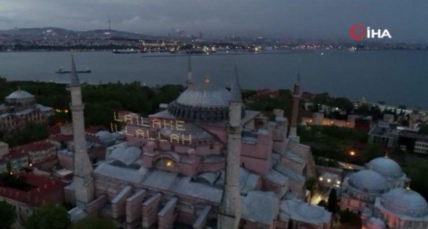 Ayasofya Camii Kadir Gecesi'nde mahya ile buluştu