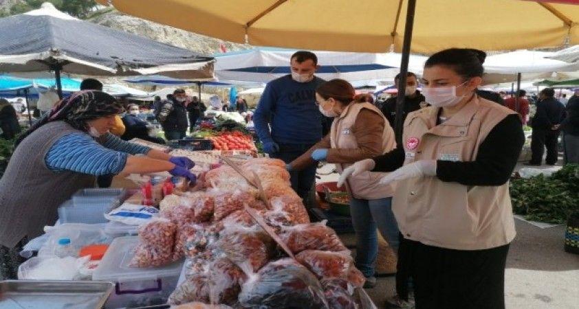 Eğirdir pazarında Korona virüs tedbiri