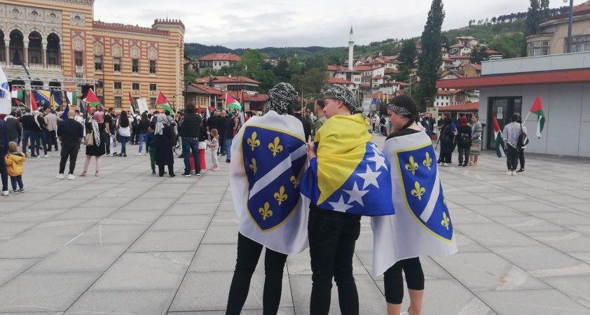 Bosna Hersek'te Filistin'e destek gösterisi