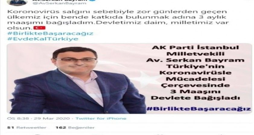 AK Parti İstanbul Milletvekili'nden korona virüsle mücadeleye anlamlı destek