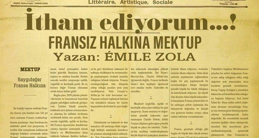 Fransız yazar Emile Zola'nın 122 yıl önce yazdığı mektup yine gündemde