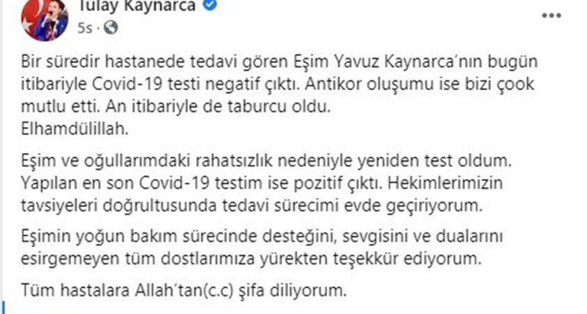 Milletvekili Tülay Kaynarca, korona virüs testinin pozitif çıktığını açıkladı