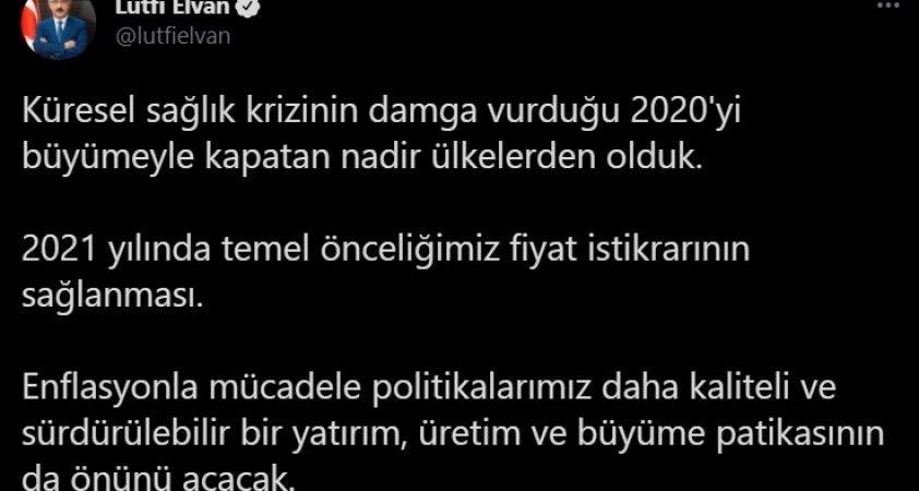 """Bakan Elvan: """"(Pandemi sürecinde)2020'yi büyümeyle kapatan nadir ülkelerden olduk"""""""