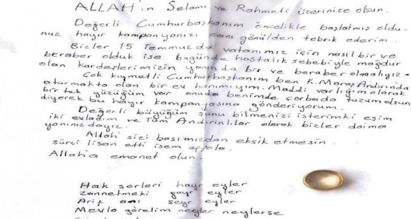 Cumhurbaşkanı Erdoğan, yüzüğünü göndererek Milli Dayanışma Kampanyası'na destek veren vatandaşla görüştü