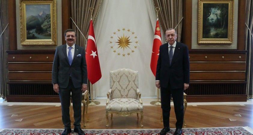 Cumhurbaşkanı Erdoğan, TOBB Başkanı Rifat Hisarcıkloğlu'nu kabul etti