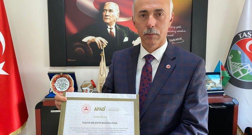 Bakan Soylu'dan Taşova Belediyesi'ne 'Teşekkür Belgesi'