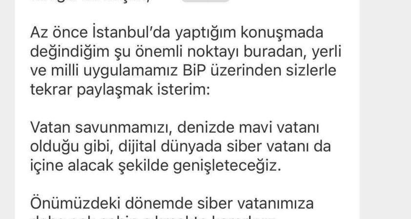 Cumhurbaşkanı Erdoğan'dan BİP paylaşımı
